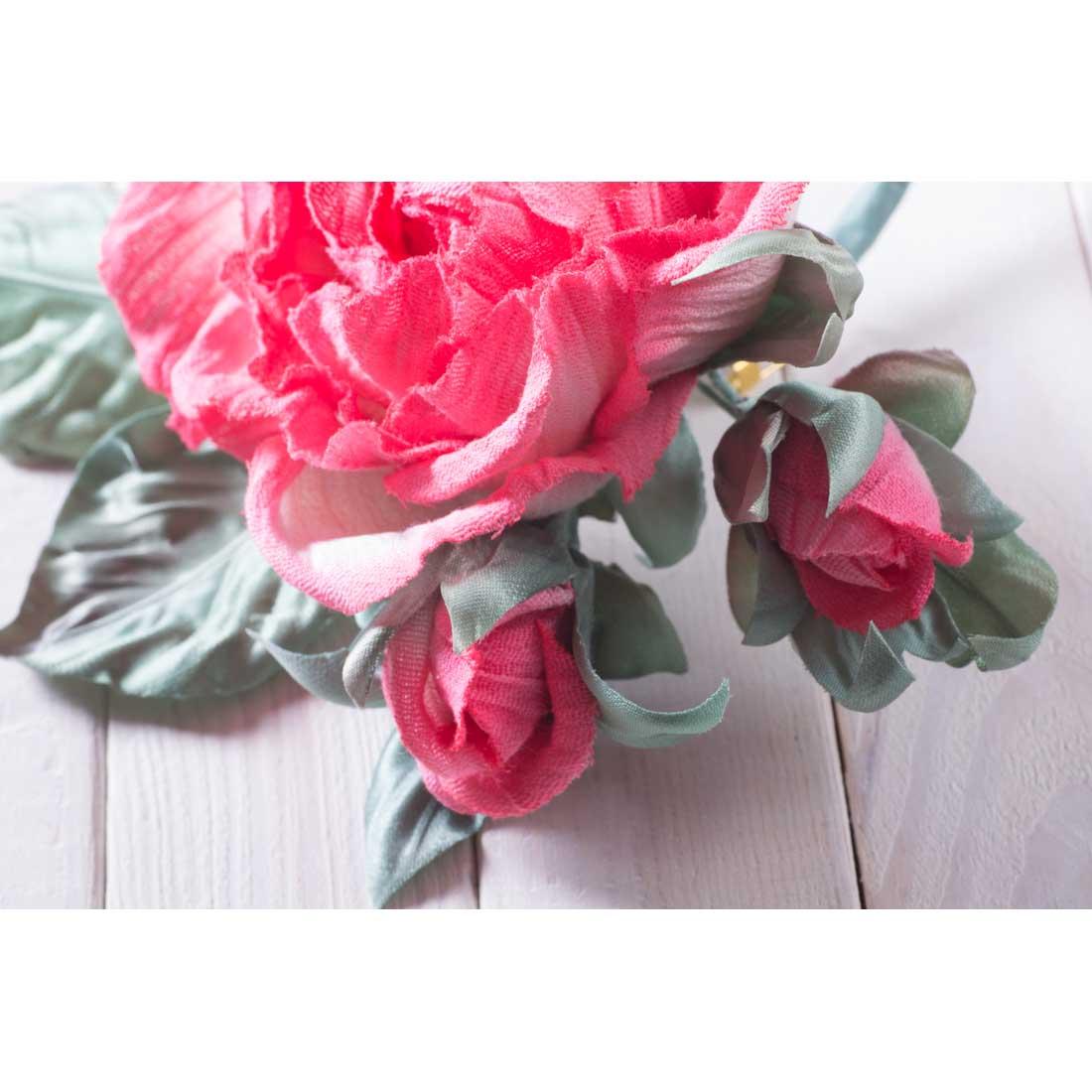Handmade Art Silk Fabric Flower Purple Rose Brooch Flowertools